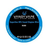 Vandy Vape Ni80 SUPERFINE MTL FUSED CLAPTON Wire 10ft / 3m